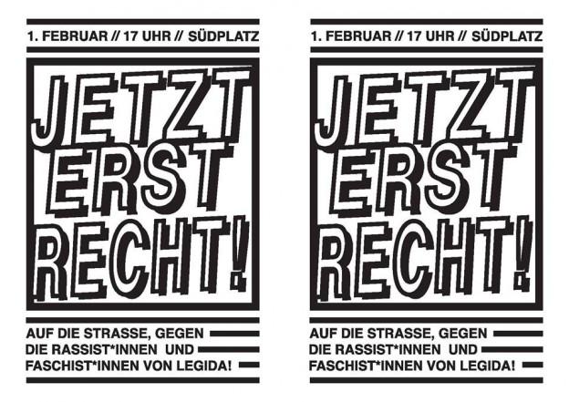 Jetzt erst recht! Demo gegen Legida am 1.2., 17:30 am Südplatz